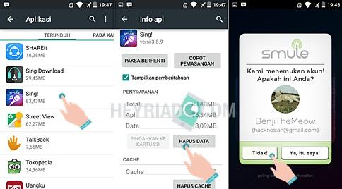 Cara Mengganti Akun Smule Android