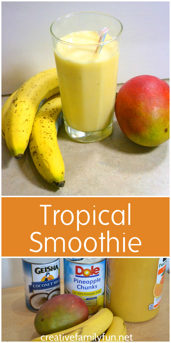 Enjoy a taste of the tropics with this easy to make, dairy-free, tropical smoothie.