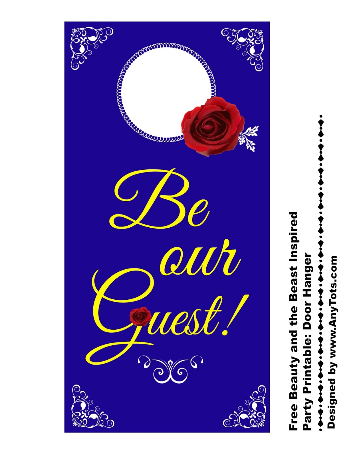 Free Beauty And The Beast Party Printable Door Hanger