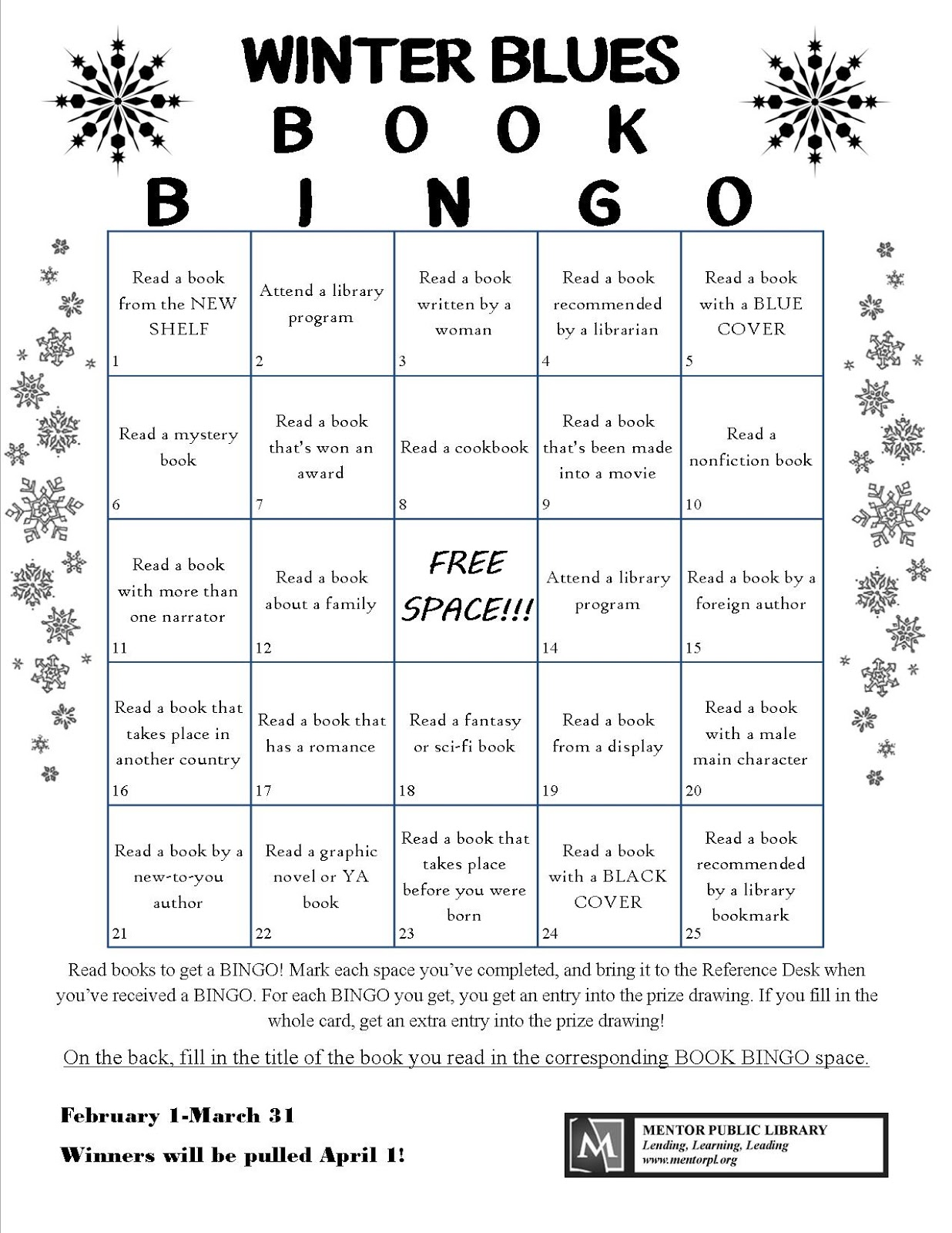Mentor S Reader Winter Blues Book Bingo
