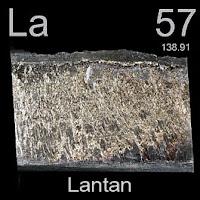 Lantan elementi üzerinde lantanın simgesi, atom numarası ve atom ağırlığı.
