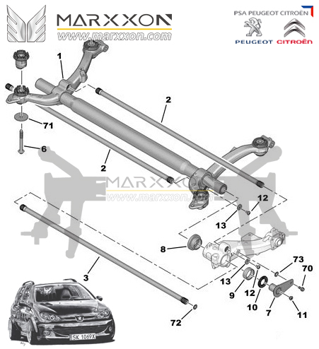 Peugeot Citroen Rear Axle-Driveshaft-Differential-Marxxon