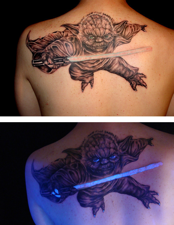 #19. Yoda from Star Wars. - 30 Glow-In-The-Dark Tattoos That'll Make You Turn Out The Lights.