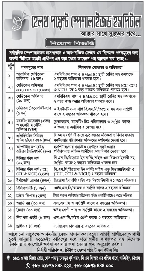 Health Point Hospital Limited, Chatttogram Job Cirular 2018
