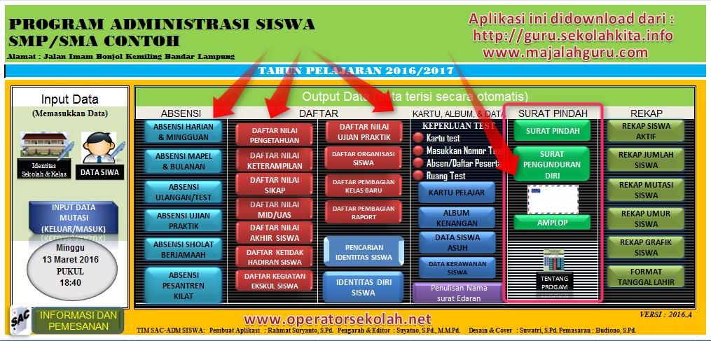 Aplikasi Administrasi SISWA SMP SMA K 2013 dilengkapi Cetak Amplop dan Kartu Pelajar Menggunakan Excel