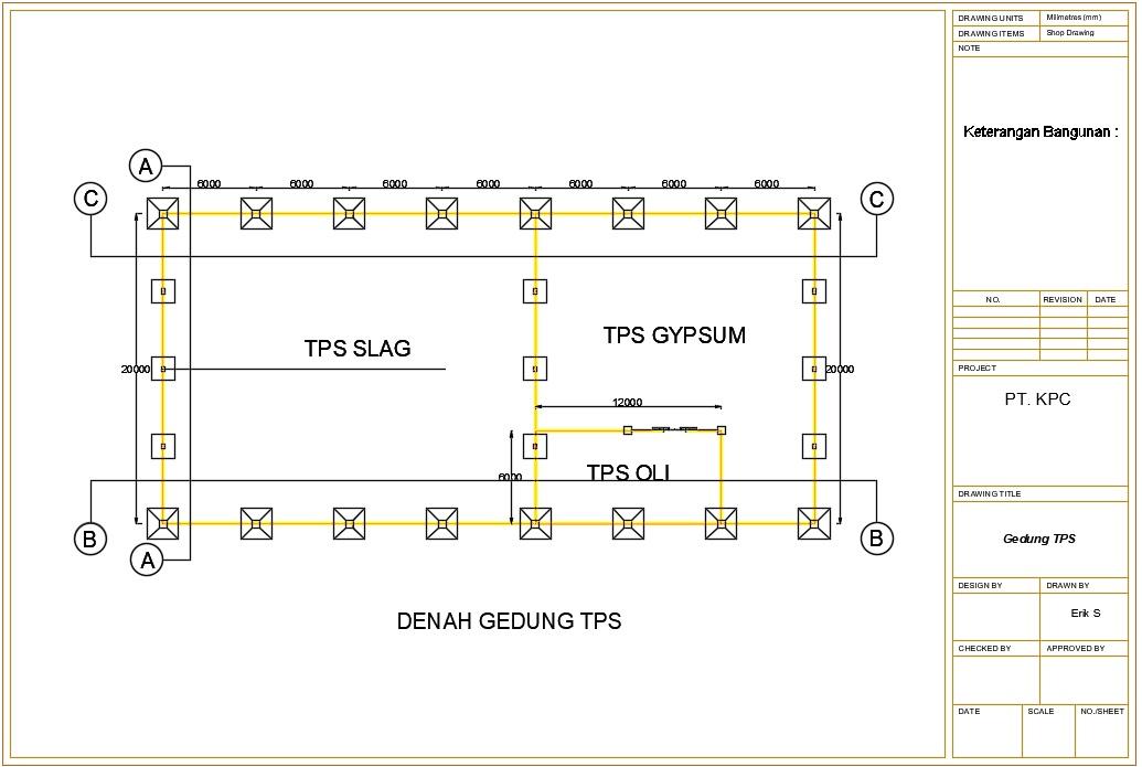 Civil Lovers Gambar Autocad Desain Bangunan Gudang Struktur Baja Gedung Tps