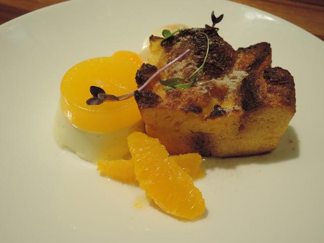 brioche pudding;  panna cotta and ice cream