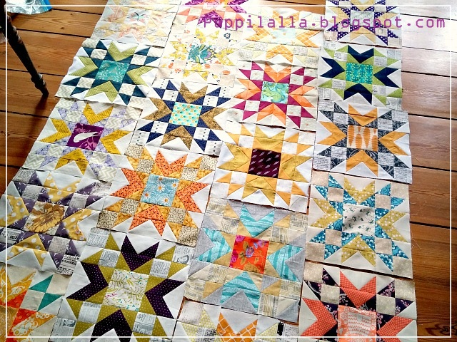 Puppilalla, Double Star Quilt Blocks, Free Quilt Block pattern, Bee Block, Quilting Bee, Blossom Heart Quilts