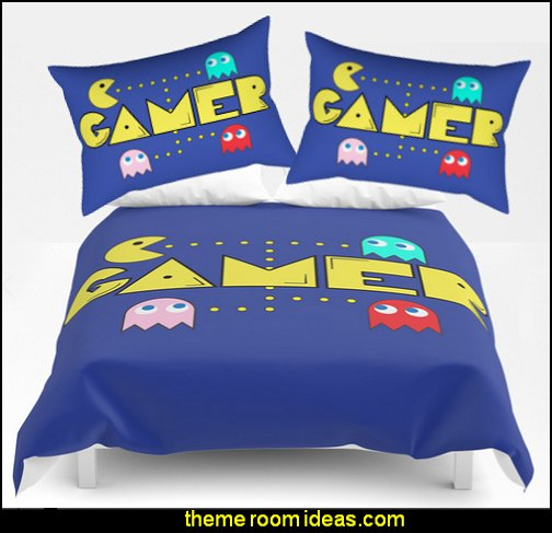 Classic Game Pacman bedding  Gamer bedroom - Video game room decor - gamer bedroom furniture - gamer wall decal stickers - Super Mario Brothers Wall Stickers - gamer bedding - Super Mario Brothers bedding - Pacman decor -