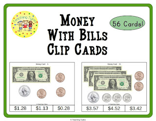 https://www.teacherspayteachers.com/Product/Money-with-Bills-Clip-Cards-996958