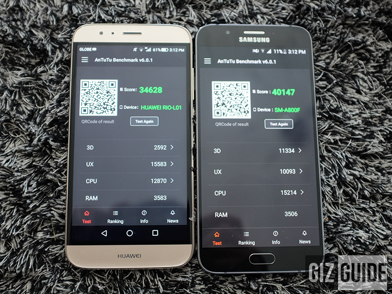 Antutu benchmark of Huawei G8 and Galaxy A8