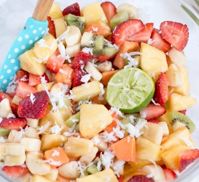 TROPICAL FRUIT SALAD WITH HONEY LIME DRESSING