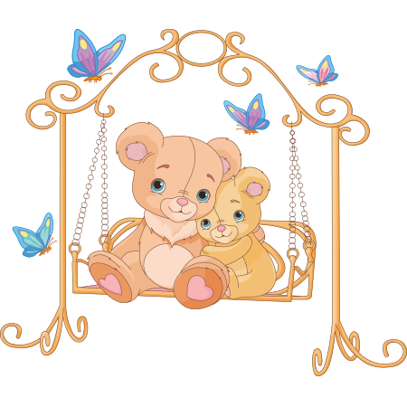 Teddy bears on a swing