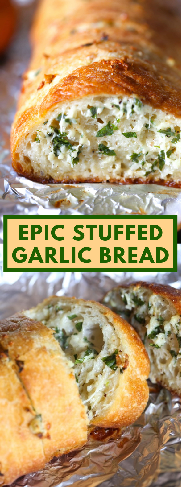 EPIC STUFFED GARLIC BREAD #vegetarian #food
