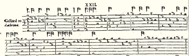 Facsimile of the first 12 bars of Galliard to lachrima(e)