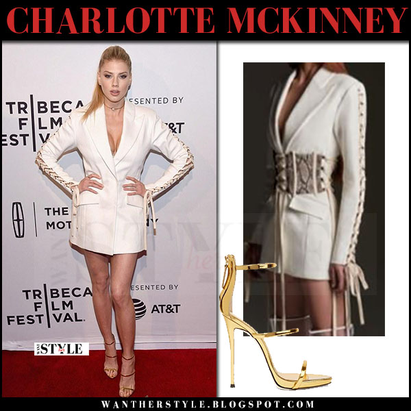 Charlotte McKinney in white blazer mini dress vatanika and gold sandals Tribeca Film Festival what she wore april 2017