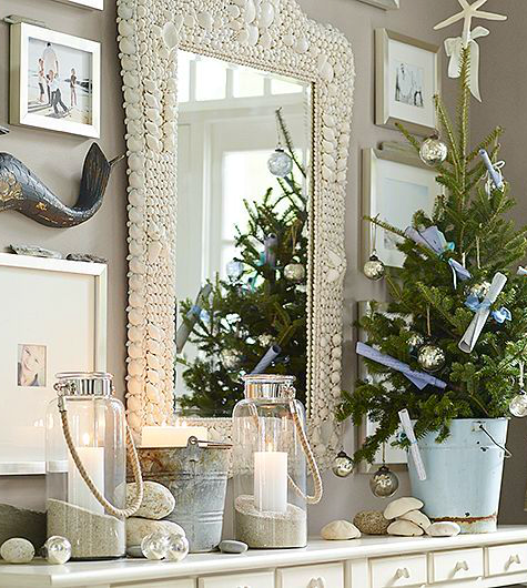 coastal christmas mantel ideas