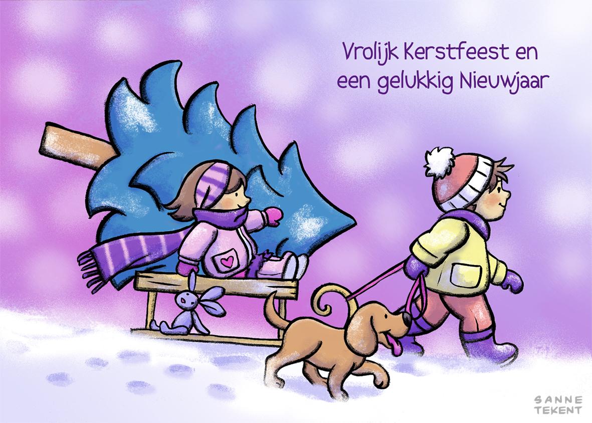 Vrolijk kerstfeest en een gelukkig Nieuwjaar!   Sanne Tekent