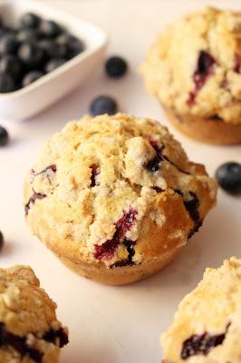 Muffins crocantes de mirtilo