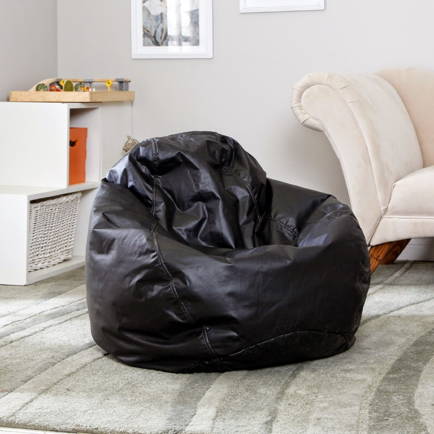 Child Size Vinyl Bean Bag Chair Solid Yellow Accent About Chairs Home Design Inspiration And