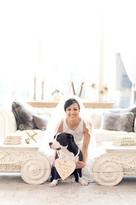bride pictured with dog