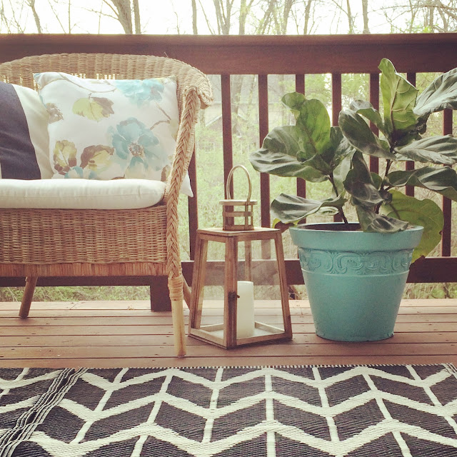 deck, wicker, fiddle leaf fig, lantern