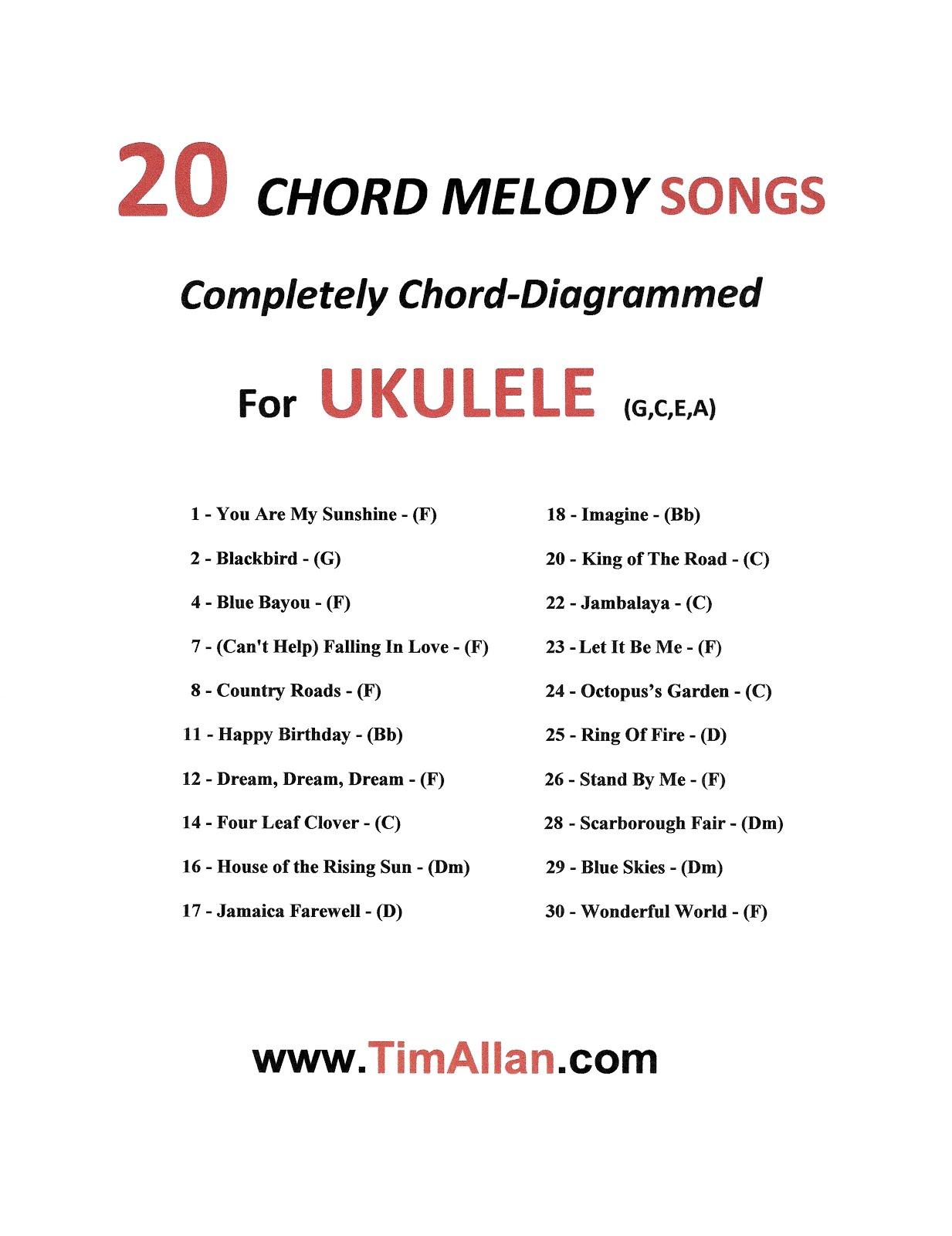 20 U201cchord Melody U201d Ukulele Song Arrangements Tim Allan Manual Guide
