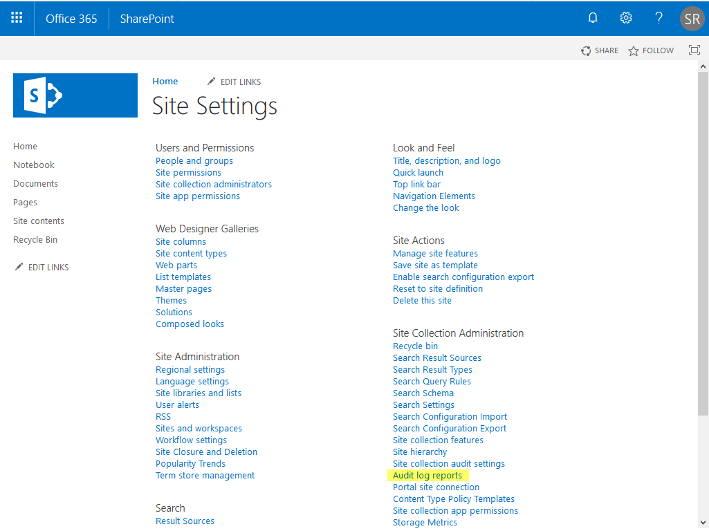 sharepoint audit log reports link missing