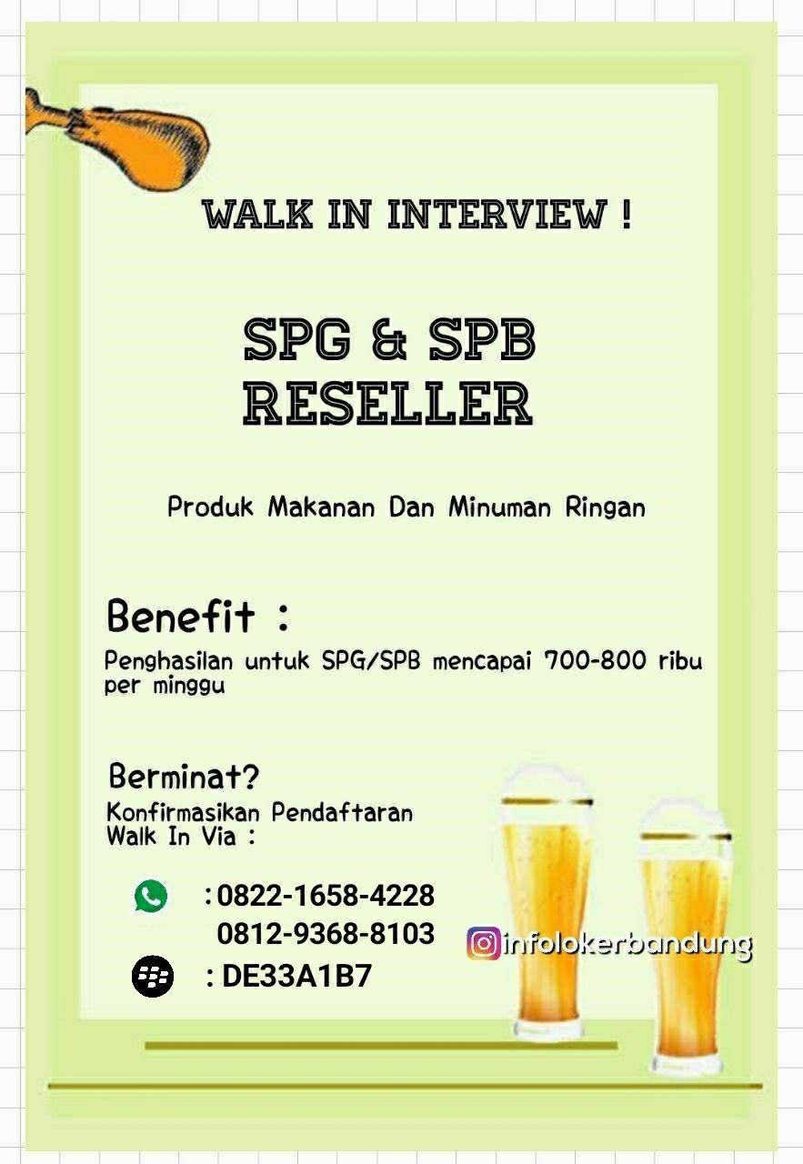 Lowongan Kerja SPG & SPB Produk Makanan dan Minuman Ringan Bandung Maret 2018