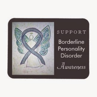 Custom BPD Borderline Personality Disorder Awareness Angel Grey Ribbon Rectangle Art Magnets