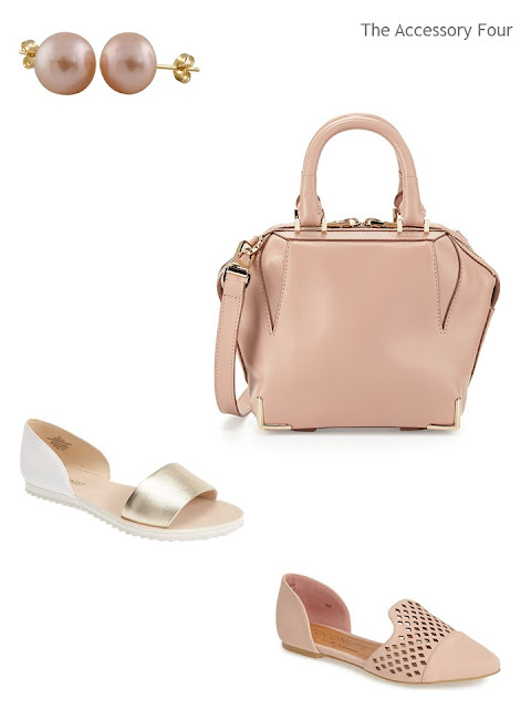 earrings, a bag, and two pair of shoes in soft blush and gold metal