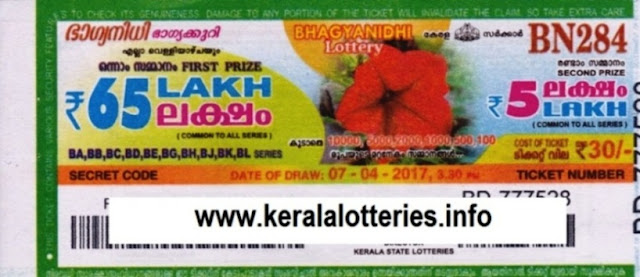 Kerala lottery result official copy of Bhagyanidhi (BN-257) on 30.09.2016