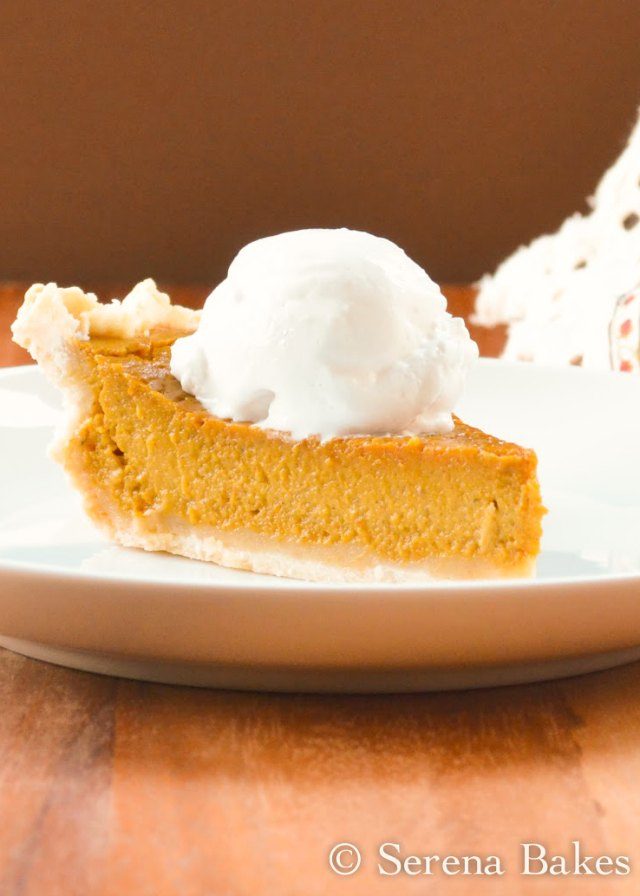 Gluten Free Dairy Free Pumpkin Pie with Coconut Whip Cream is a must for the Thanksgiving dessert table! It's perfect for those with food sensitivities but delicious enough everyone will love it from Serena Bakes Simply From Scratch.