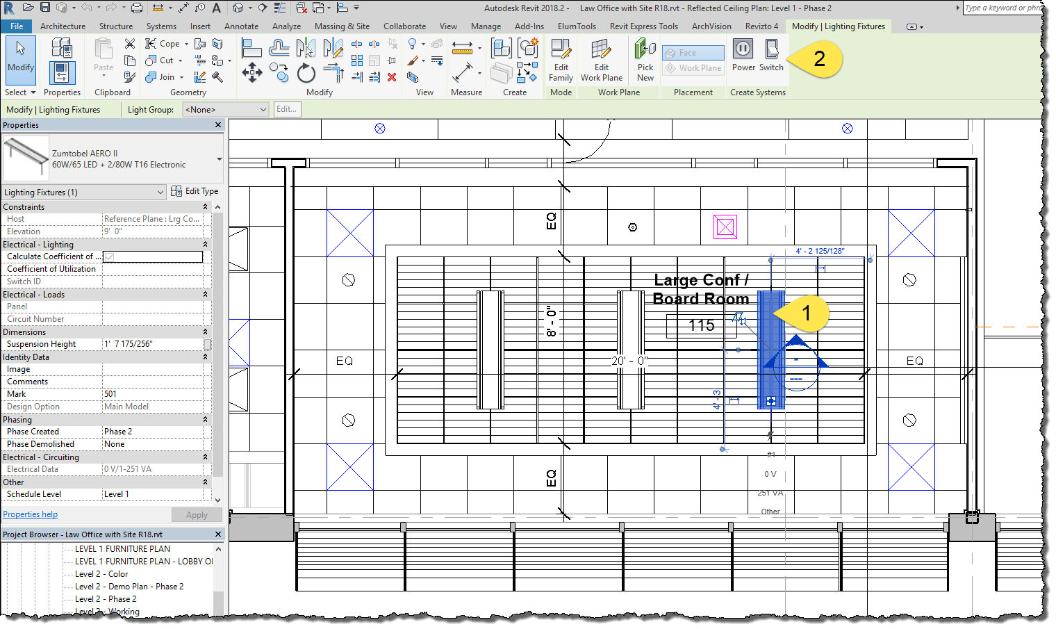 Bim chapters revit lighting fixtures switching once a switch system is created for a light fixture the switch option goes away and is replaced by a new switch system tab on the ribbon arubaitofo Gallery