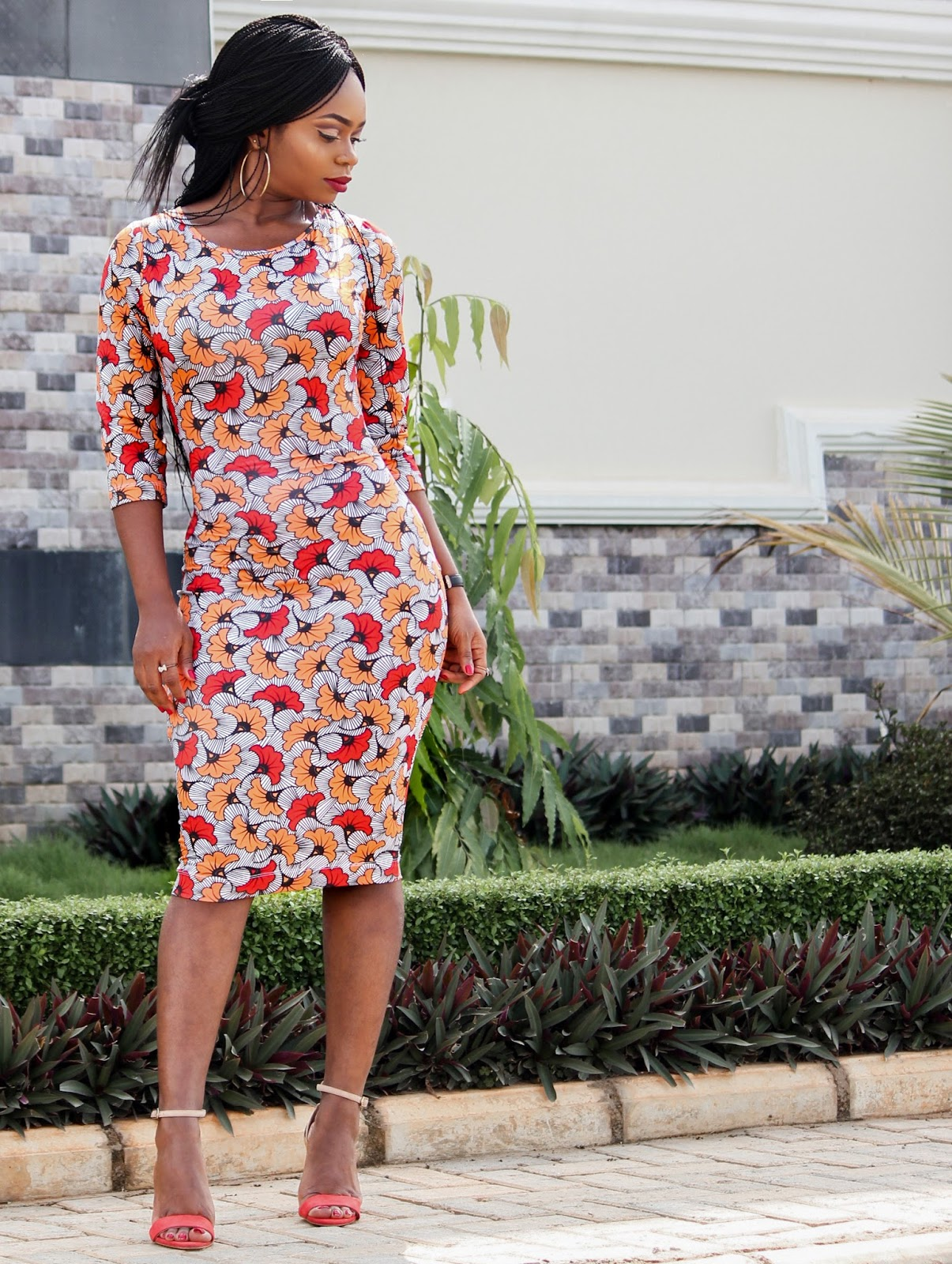 AFRICAN PRINT WITH A TWIST - Zakaara African Custom Stretch Print  Dress  in Kpotuba Print