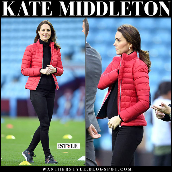 Kate Middleton in red puffer jacket perfect moment, black jeans and sneakers new balance vazee street fashion november 22