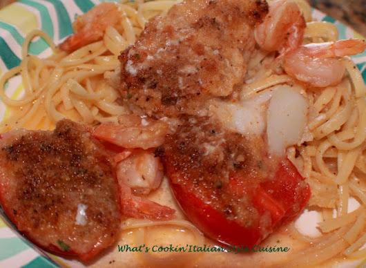 Linguine Tomatoes Shrimp in Butter Wine Sauce | What's Cookin' Italian Style Cuisine
