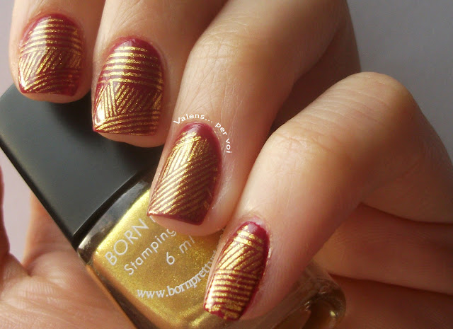 golden stamping manicure, Born Pretty Store, golden geometric manicure, stamped nail art, The Great Gatsby, roaring 20's, 20's nail art