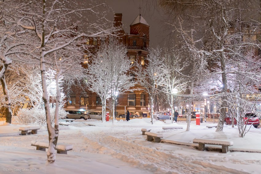 Portland, Maine USA January 2017 photo by Corey Templeton of snow in Post Office Park in the Old Port at night.