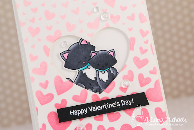 Happy Valentine's Day Card with Distress Oxide Die Cut Stenciled Ombre Background by Juliana Michaels featuring Newton's Nook Designs Newton's Sweetheart Stamp Art and Tumbling Hearts Stencils