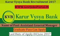 Karur Vysya Bank Recruitment 2017 –Manager, GM