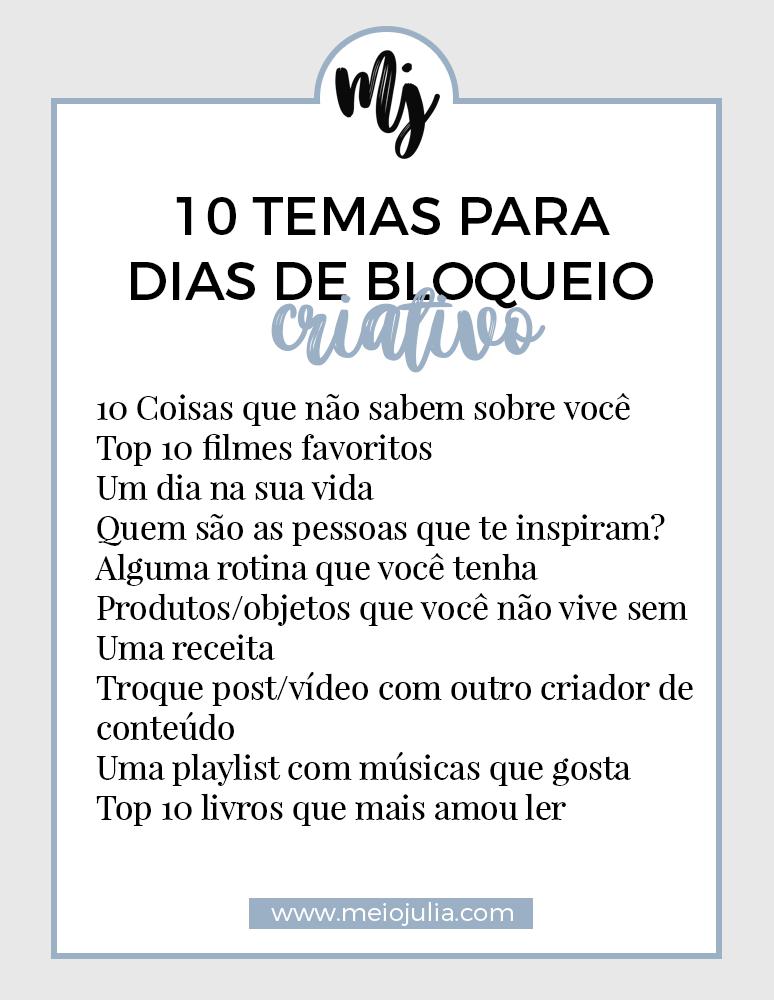 10 Temas Para Bloqueio Criativo