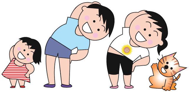 体操している子供たち