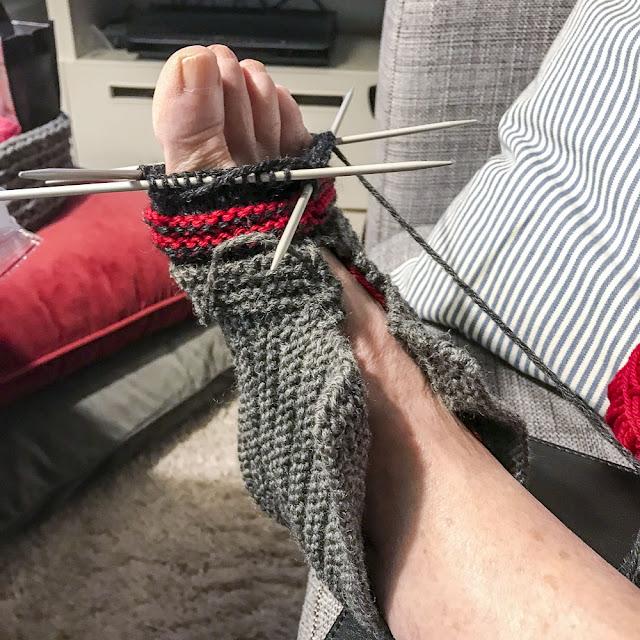 stickning, socka, toffel, sock-toffla