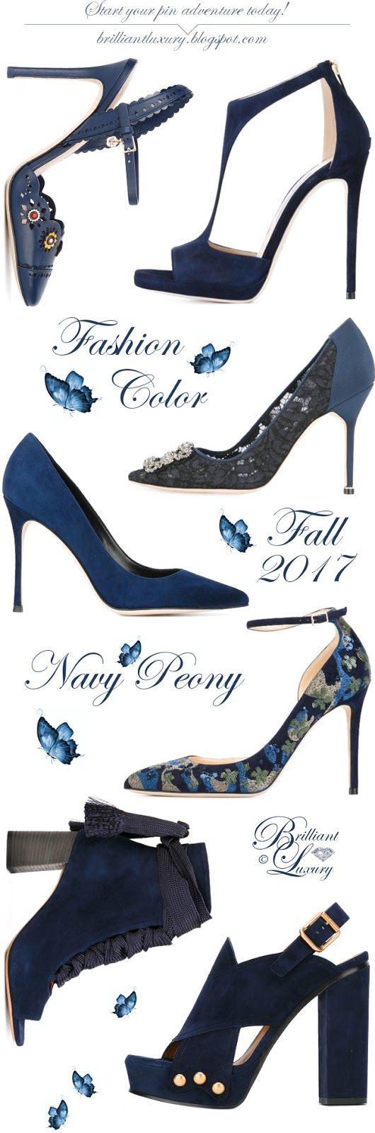 Brilliant Luxury ♦ Fashion Color Fall 2017 ~ navy peony #shoes