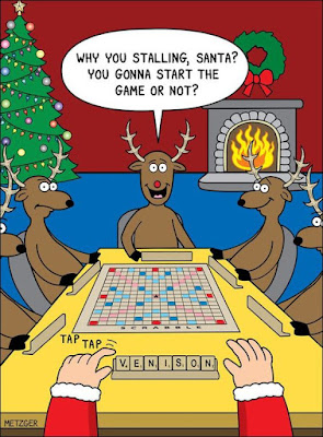 christmas comic, santa and reindeer playing scrabble
