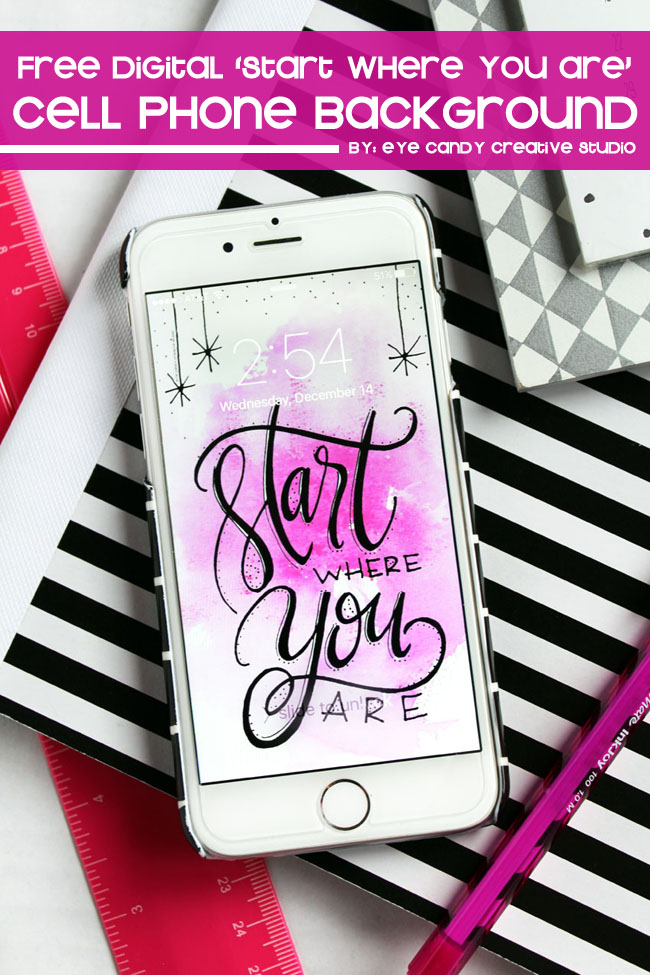 start where you are, inspirational background, hand lettering, cell phone art