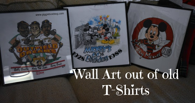wall art out of t-shirts, favorite t-shirt keepsake, wall art out of t-shirts without cutting the shirts,