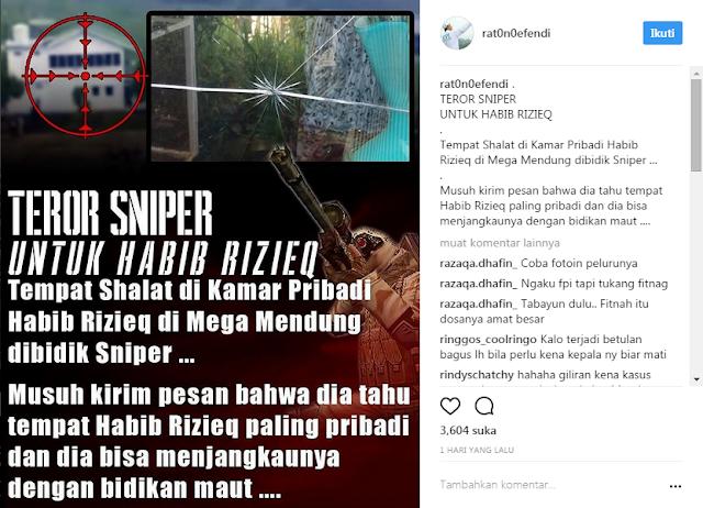 Kamar pribadi di pondok pesantren milik imam besar Front Pembela Islam (FPI) KH Rizieq Syihab dikabarkan ditembak sniper.