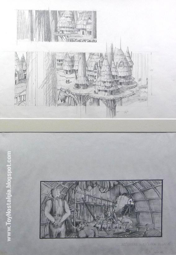 """Diseño conceptual de Ralph McQuarrie para aldea Ewok  """"Episodio VI - The Return Of the Jedi""""  (STAR WARS - The Exhibition)"""